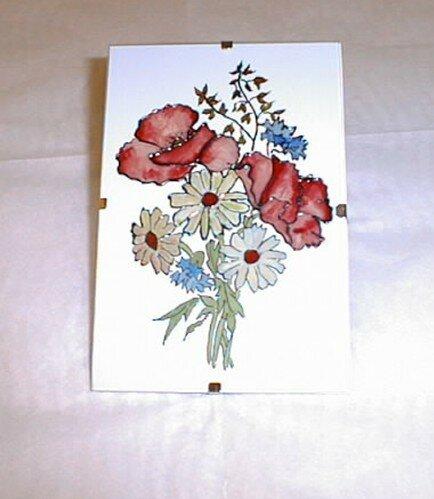 Peinture sur verre petit bouquet photo de peinture vitrail parfum d 39 anges for Peinture sur email