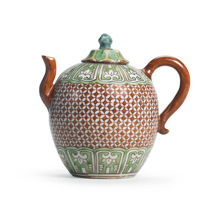 A rare polychrome teapot and cover, Late Ming dynasty
