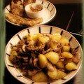 Escalopes de porcs à la moutarde & poelée forestière