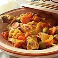Cuisses de poulet / citron confit et olives aux carottes