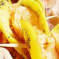 Crevettes epicees et mini-omelettes