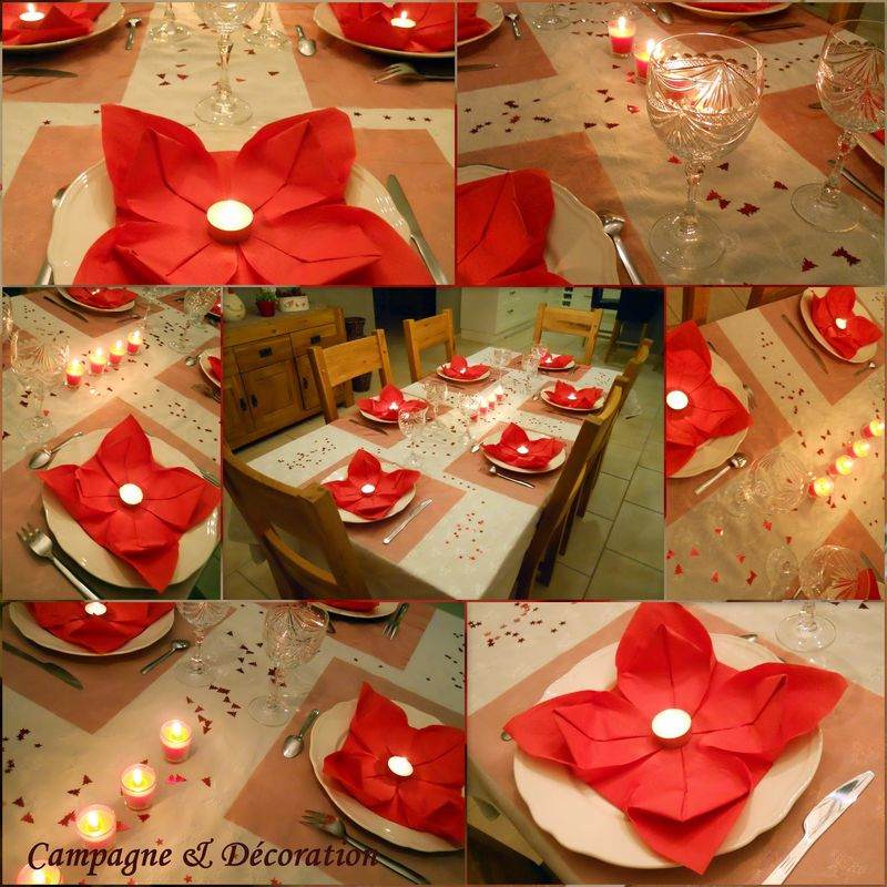 Decoration table noel rouge et blanc - Table de noel rouge et or ...