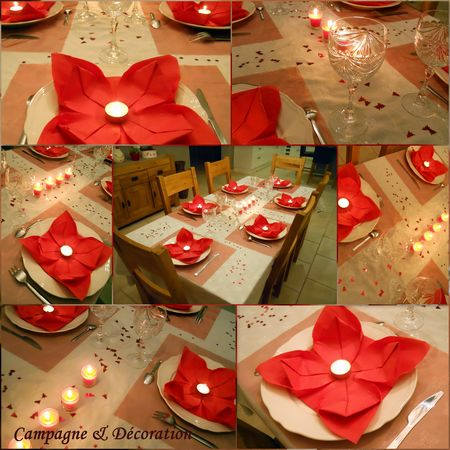 Ma table de noel en rouge et blanc campagne d coration for Decoration de noel rouge et blanc