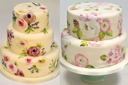 Painted-Floral-Wedding-Cakes