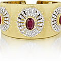 Buccellati. an important ruby and diamond gold cuff bracelet