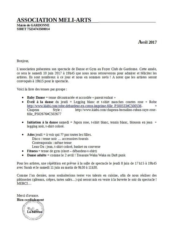 lettre adhérents pour spectacle 2017