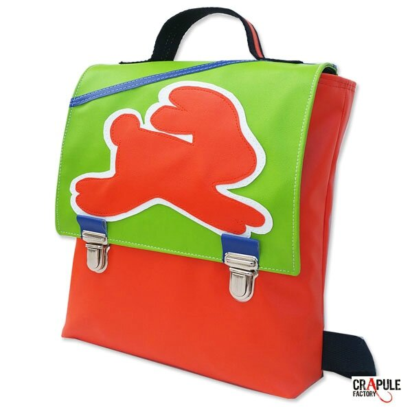 Cartable maternelle /sac à dos /sacoche original pop orange rabat vert pomme pétant applique Lapin orange blanc simili cuir fermeture clip tuck cartable argenté fait main - mini série made in france **idéal idée de cadeau - COLLECTION :