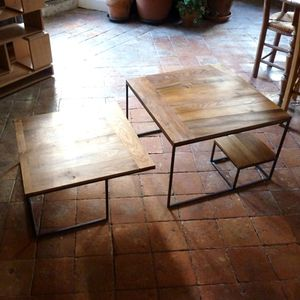 table basse chene metal (1)