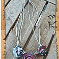 collier lentilles tourbillons rouges et grises