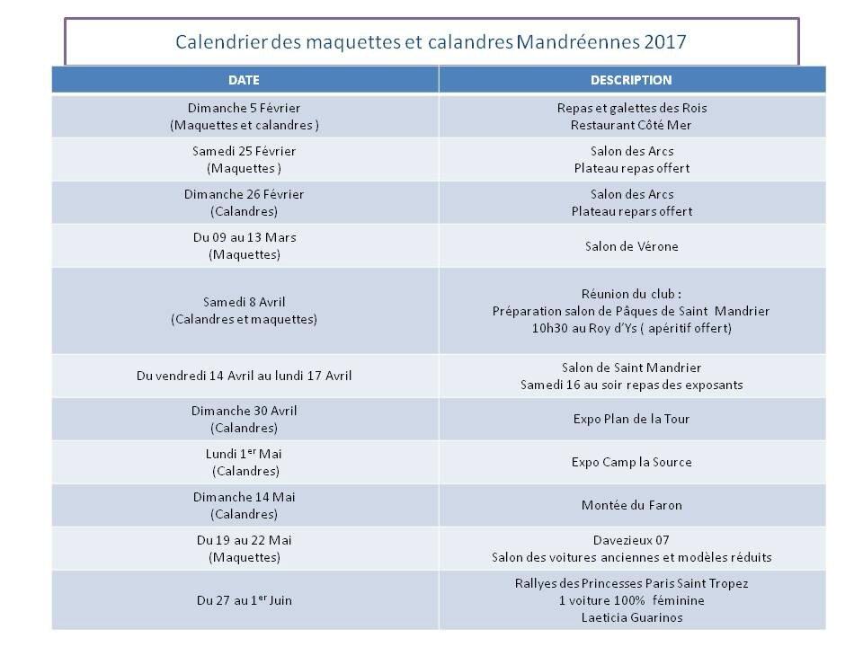2017 - Planning des activités