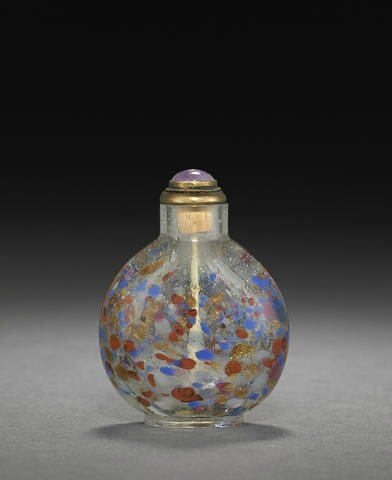 A gold aventurine and multicolor-splashed clear glass snuff bottle, Imperial, Palace Workshops, Beijing, 1750-1800