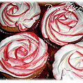 Roses cupcakes fourré nutella topping chantilly-mascarpone