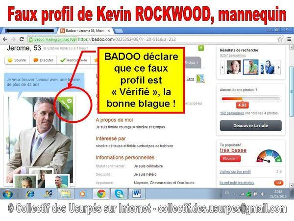 faux profil soi-disant Vérifié sur BADOO - fake de Kevin ROCKWOOD mannequin