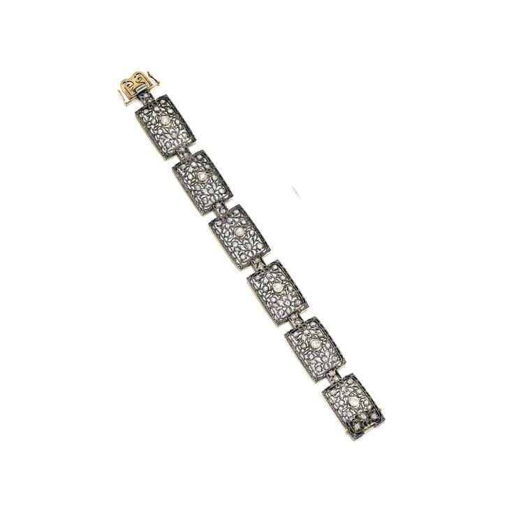 Silver-Topped Gold and Diamond Bracelet, Buccellati