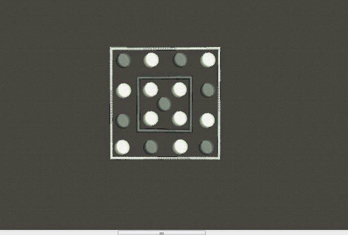 carré brodés petits ronds blanc et gris
