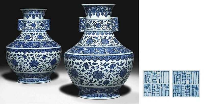 A magnificent pair of large blue and white vases,hu, Qianlong seal marks and of the period (1736-95)
