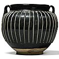 A black-glazed 'ribbed' jar, Northern Song-Jin Dynasty
