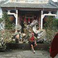 Devant une des nombreuses pagodes