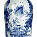 A blue and white porcelain vase with a rare scene of general han xin and the first emperor of china liu bang, transitional perio