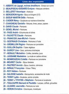 Liste exposants Ligugé