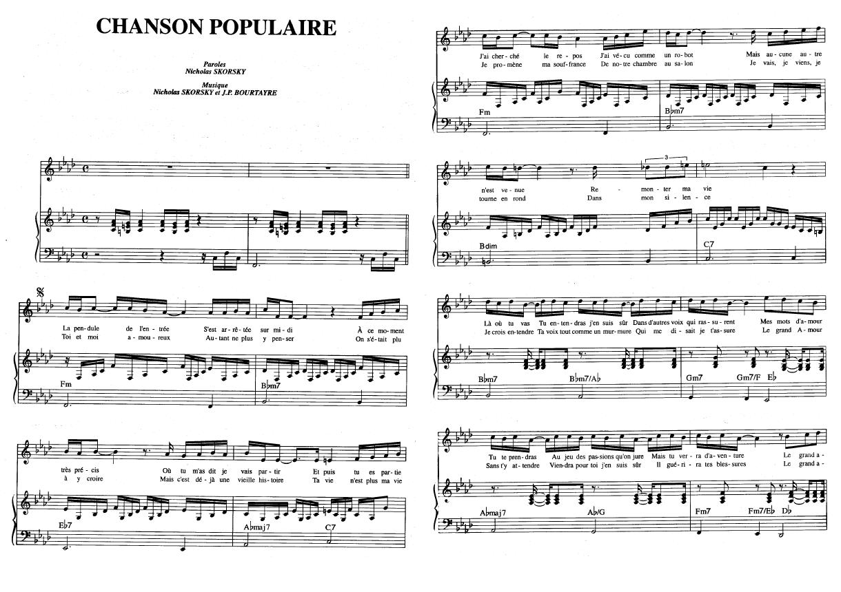 partition chanson populaire claude francois