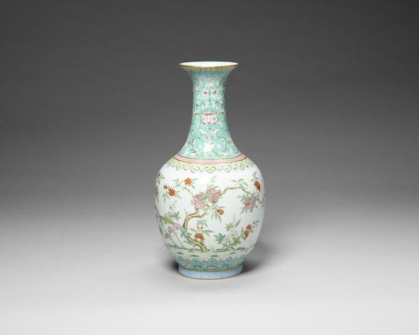 A famille rose 'pomegranate' bottle vase, Daoguang seal mark and of the period
