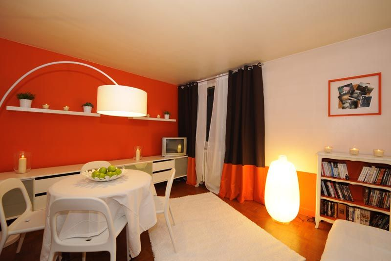 chambre orange et blanc peinture cuisine orange bg concept r novation appartement lyon - Chambre Orange Et Marron