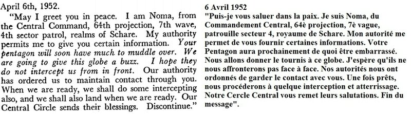 Message from space to Pentagon in 1952 -1