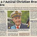 Hommage: décès de l'amiral brac de la perrière