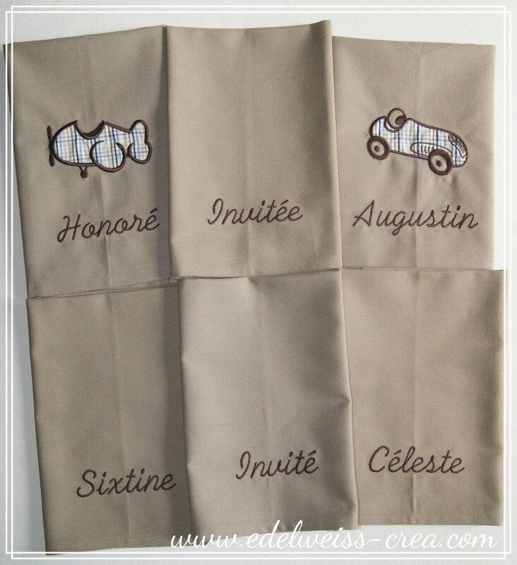 Serviettes de table brodées prénom famille - Serviette pression appliqué et prénom pour les enfants