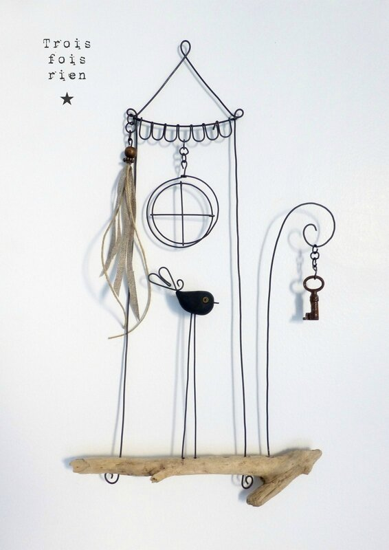 Piou N°439, fil de fer, trois fois rien, wire, wire art