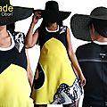 Robe jaune noire blanche isamade pour un printemps 2017 créateur au look seventies