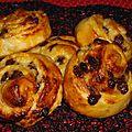 Escargots brioché pépites de chocolat et noix de coco