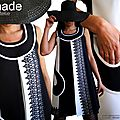 Robe trapèze dentelle moderne en version noire & blanche de fabrication française à découvrir !