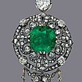 A fine emerald and diamond brooch