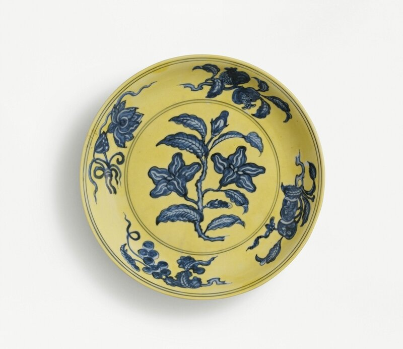 A fine blue and yellow 'gardenia' dish, mark and period of Hongzhi
