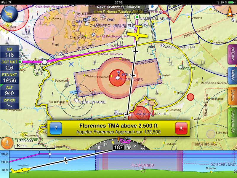 Sur iPad, Skydemon averti des espaces aériens traversés