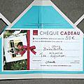 carte pour un chèque cadeau ouverte