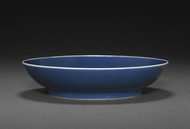 A cobalt glazed deep dish, Daoguang six-character mark and of the period