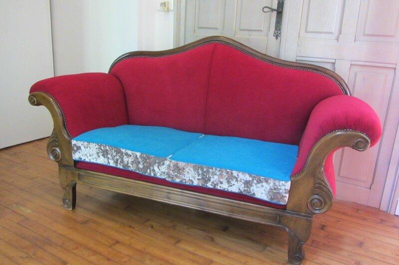 canapé en patchwork tapissier à Brest