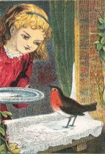 Girl-feeding-robin