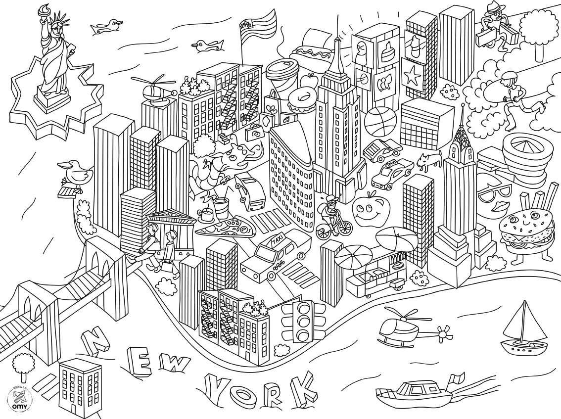 new york towers free coloring pages