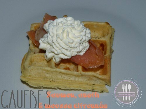 Gaufres saumon aneth et chantilly citron basilic