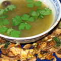 Soupe au bok choy, oeufs aux champignons