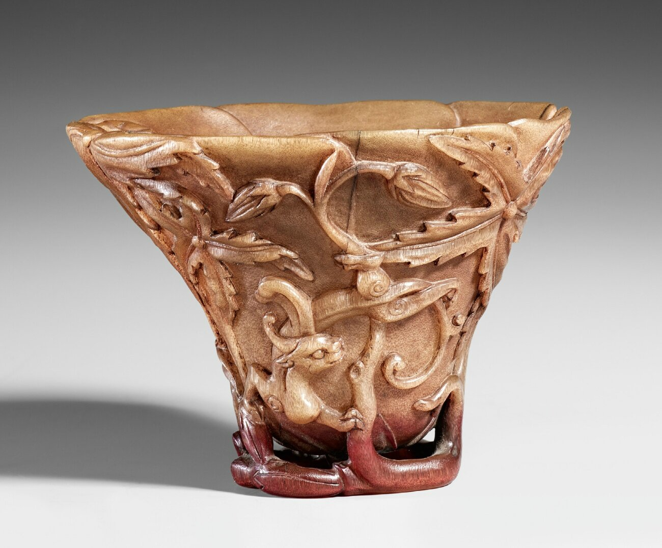 A rhinoceros horn libation cup, 19th-20th century