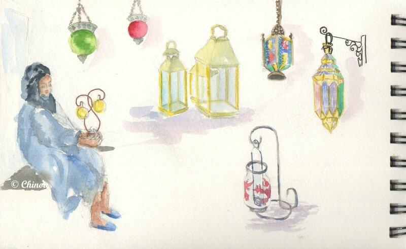 Marchande et lanternes au musée de l'artisanat