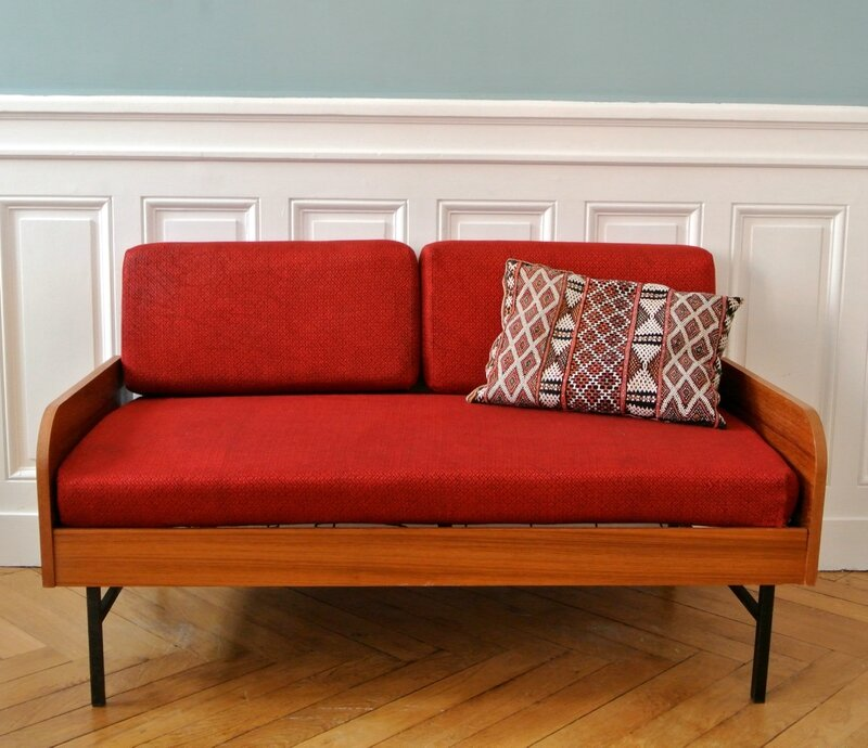 Daybed années 60 rouge (2)