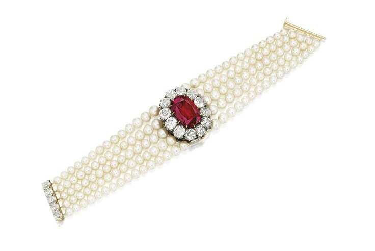 Impressive and Rare Ruby, Diamond and Natural Pearl Bracelet