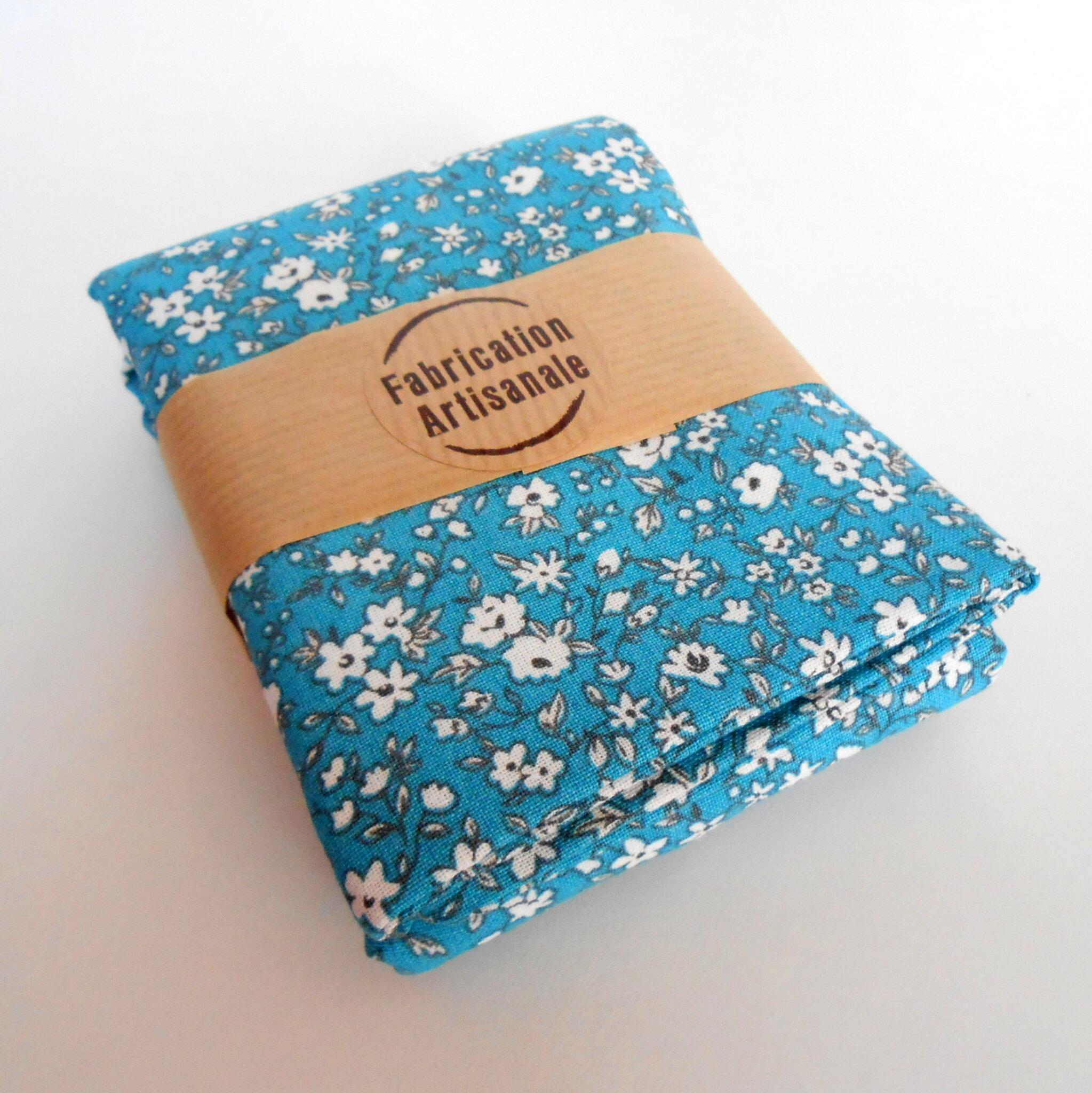 tote bag clocréations-fleurettes fond bleu3
