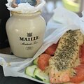 Filet de truite aux courgettes croquantes, pamplemousse et moutarde au chablis {recette}